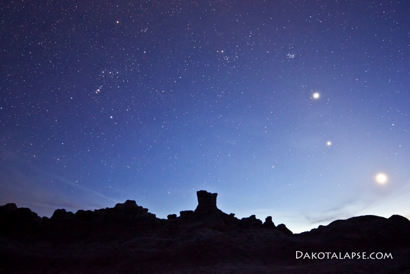 Mercury, Venus and Moon conjunction in the Badlands