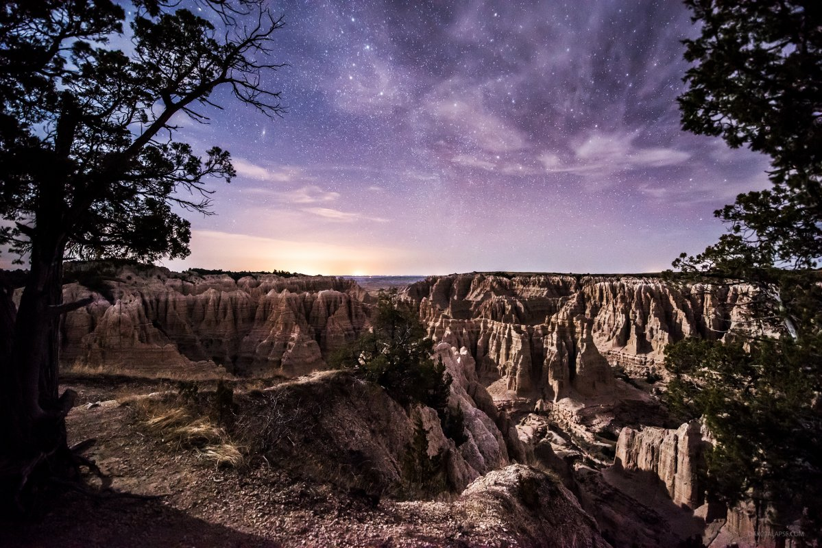 Badlands, South Dakota at night