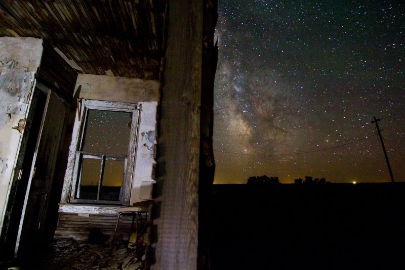 Milky Way and Abandoned House