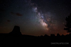 June Milky Way at Devils Tower in Wyoming.