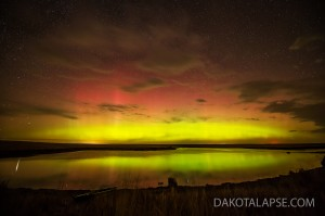 Aurora reflects off a pond in South Dakota.
