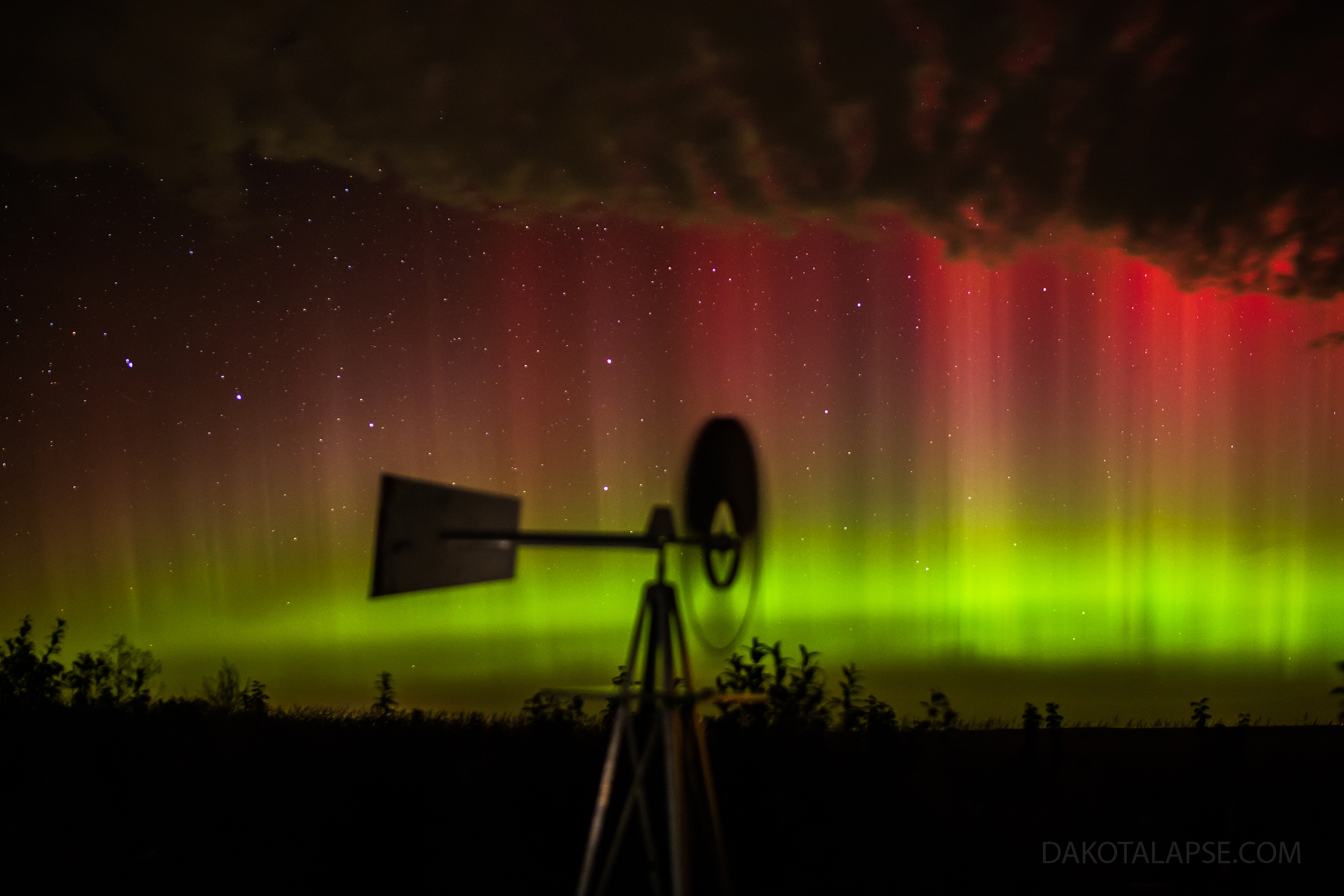 October Aurora in Prairie Skies - Aurora and a Windmill in central South Dakota 10-1-13.
