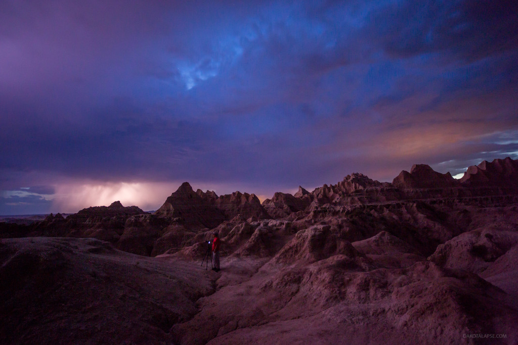2015 Badlands lightning during workshop. Night sky timelapse photography workshop.