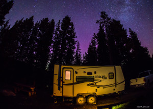 Flagstaff Micro Lite Camper while shooting timelapse in Wyoming